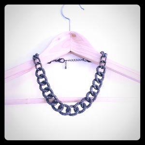 Sparkly Gunmetal Collar, chunky statement Necklace